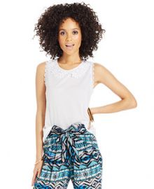 American Rag Crochet-Collar Sleeveless Top at Macys