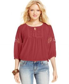 American Rag Crochet-Knit-Panel Peasant Top at Macys