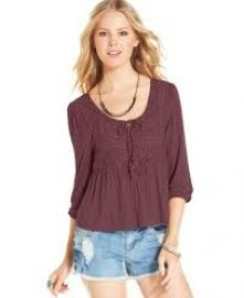 American Rag Lace Panel Peasant Top at Macys
