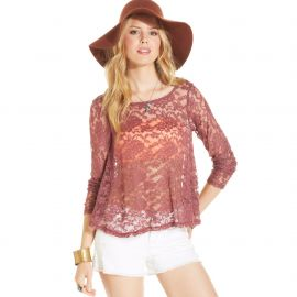 American Rag Long-Sleeve Lace Swing Top in Wild Ginger at Macys