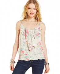 American Rag Printed Ruffled Top - Juniors Tops - Macys at Macys