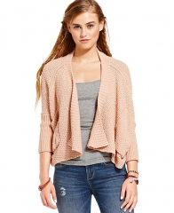 American Rag Sweater Three-Quarter Sleeve Draped in Cameo Rose at Macys