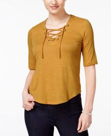 American Rag Three-Quarter-Sleeve Lace-Up Top  at Macys
