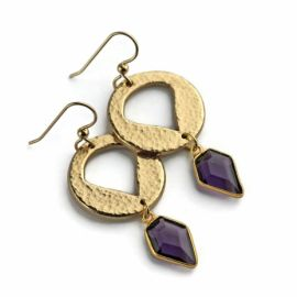 Amethyst Shield Earrings at Kathryn Designs
