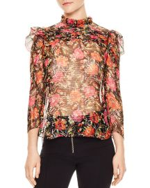 Amina Floral-Print Metallic-Stripe Top by Sandro  at Bloomingdales