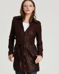 Andrew Marc Waxed Lamb Leather Belted Trench at Bloomingdales