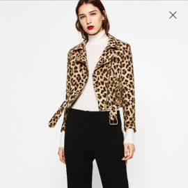 Animal Print Biker JAcket at Zara