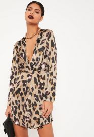 Animal Print Plunge Wrap Shift Dress by Missguided at Missguided