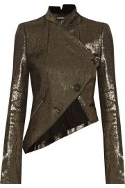 Ann Demeulemeester   Asymmetric metallic linen-blend jacket at Net A Porter