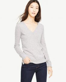 Ann taylor Cashmere Flecked V-neck Sweater at Ann Taylor