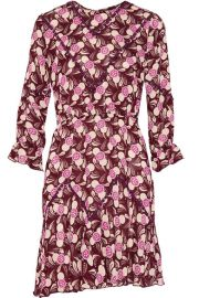 Anna Sui Lace-Trimmed Printed Crepe Mini Dress at Net A Porter