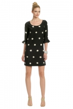 AnnaBeth's black polka dot dress for rental at Rent