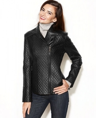 Anne Klein Asymmetrical Quilted Leather Jacket - Jackets and Blazers - Women - Macys at Macys