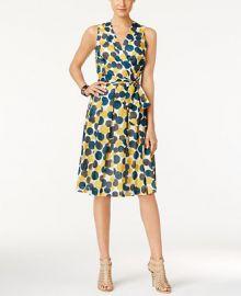 Anne Klein Dot-Print Faux-Wrap Dress at Macys