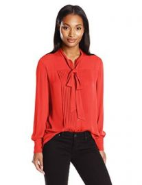Anne Klein Womenand39s Long Sleeve Bow Blouse at Amazon