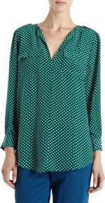 Anns green polka dot shirt at Barneys