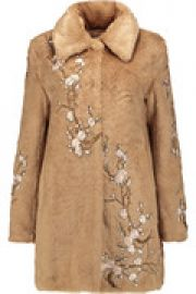 Appliqu  d faux fur coat at The Outnet