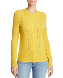 Aqua Mixed Knit Cashmere Sweater in Marigold at Bloomingdales