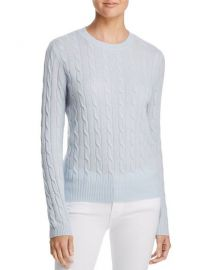 Aqua Cable Crewneck Cashmere Sweater in Sky Blue at Bloomingdales