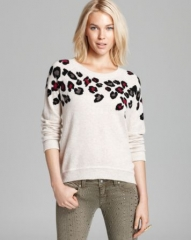 Aqua Cashmere Sweater - Leopard Spot Intarsia High Low at Bloomingdales