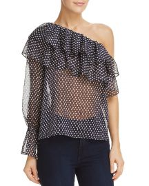 Aqua Metallic One-Shoulder Dot-Print Top at Bloomingdales