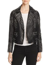 Aqua Studded Faux-Leather Moto Jacket at Bloomingdales