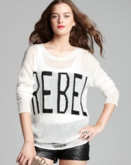 Aqua Sweater - Rebel Torn Crewneck at Bloomingdales