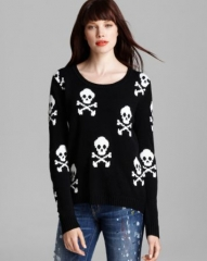 Aqua Sweater - Skull Cross Bone High Low Crewneck at Bloomingdales