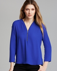Aqua Zipper Blouse at Bloomingdales