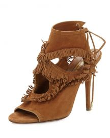 Aquazzura Sexy Fringe Suede Tie-Back Sandal  Cognac at Neiman Marcus