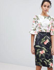 Areea Midi Dress in Peach Blossom Print at Asos