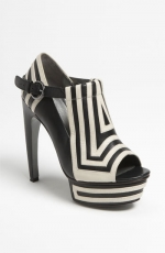 Aria's black and white striped shoes at Nordstrom