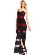 Aria's red and black maxi dress at Macys at Macys