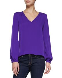 Arlenis Long-Sleeve Silk Top by Diane von Furstenberg at Neiman Marcus