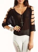 Arm cutout sheer top from Go Jane at Go Jane