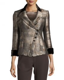 Armani Collezioni Jacquard Asymmetric-Botton Jacket at Neiman Marcus