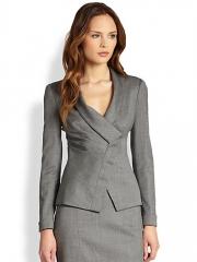 Armani Collezioni - Micro Herringbone Draped Lapel Jacket at Saks Fifth Avenue