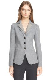 Armani Collezioni Herringbone Jacket in Grey at Nordstrom
