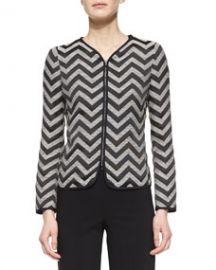 Armani Collezioni Zigzag Zip-Front Jacket at Neiman Marcus