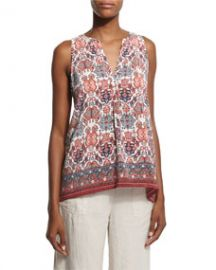 Aruna Folkloric-Print Sleeveless Top at Neiman Marcus