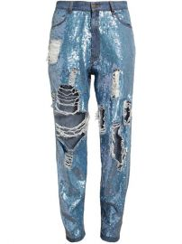 Ashish Distressed Sequin Denim Jeans - at Farfetch