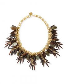 Ashley Pittman Majani Brown Quill and Labradorite Necklace at Neiman Marcus