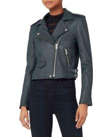 Ashville Blue Cropped Leather Jacket at Intermix
