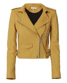 Ashville Yellow Cropped Leather Jacket by IRO at Intermix