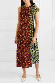 Asmmetric floral-print georgette dress at Net A Porter