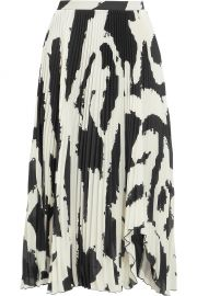 Asymmetric Pleated Printed Chiffon Midi Skirt by Proenza Schouler at Net A Porter