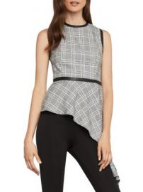 Asymmetric houndstooth drape top at Bcbg