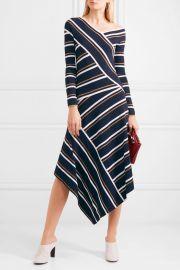 Asymmetric striped metallic knitted midi dress at Net A Porter