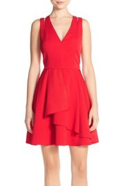 Asymmetrical Crepe Fit & Flare Dress at Nordstrom