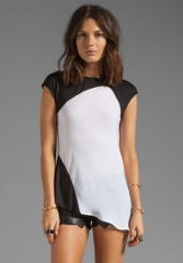 Asymmetrical tee in black and white by Heather at Revolve